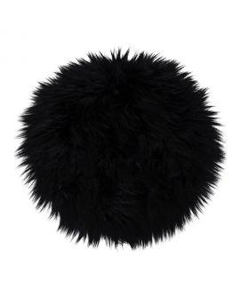 Peau d'agneau artificiel en noir 35 cm