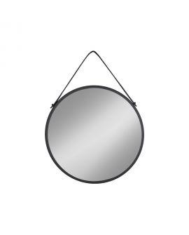 Miroir Trapani avec cadre en acier noir et bracelet en PU de 38 cm