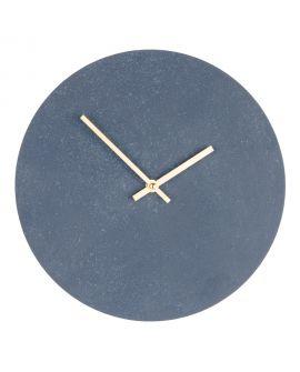 Horloge Murale Paris aspect pierre grise et bleue 30Ø