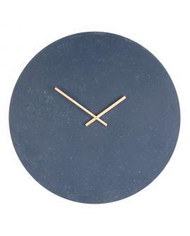 Horloge Murale Paris aspect pierre grise et bleue 60Ø