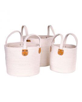 Paniers Gela - 3 paniers ronds en corde de coton blanc