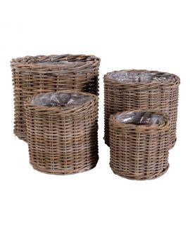 Paniers Bogor - 4 paniers ronds en kubu avec intérieur en plastique