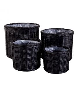 Paniers Bogor - 4 paniers ronds en noir avec intérieur en plastique