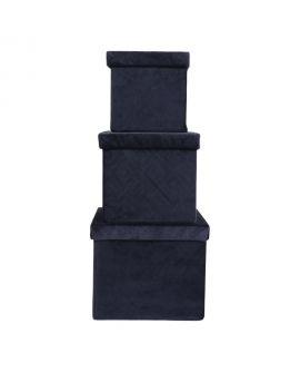 Boites de rangement Monza - 3 boîtes en velours bleu