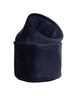 Paniers De Rangement Lucca - 2 paniers ronds en velours bleu