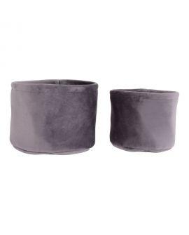 Paniers De Rangement Lucca - 2 paniers ronds en velours gris