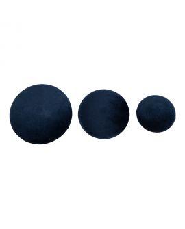 Boutons Giza - 3 boutons en velours bleu et aspect laiton