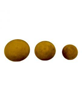 Boutons Giza - 3 boutons en velours jaune moutarde et aspect laiton