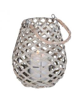 Lanterne Hasvik grise avec verre