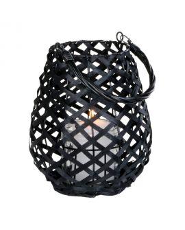 Lanterne Hasvik noire avec verre