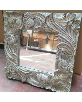 Miroir encadré Massive silver square Carré Argent blanchi 62 X 65