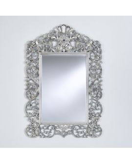Miroir encadré Ornato Silver Modèle irrégulier Argent usé 162 X 118