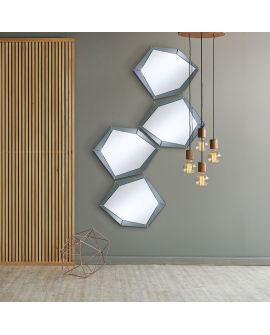 Miroir encadré Polygon Grey Modèle irrégulier Miroir + gris 97 X 77