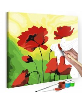 Tableau à peindre par soi-même - Poppies 45x45