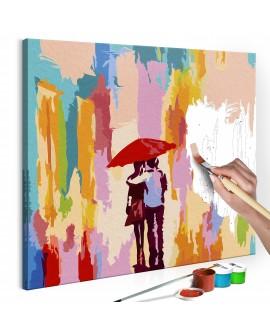 Tableau à peindre par soi-même - Couple sous un parapluie (fond rose) 45x45