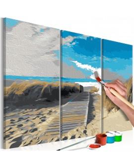 Tableau à peindre par soi-même - Plage (ciel bleu) 60x40