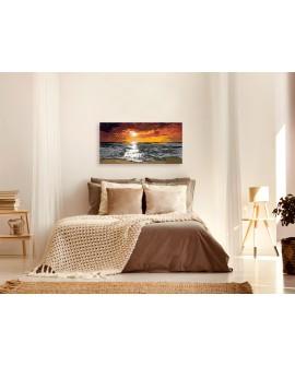 Tableau à peindre par soi-même - Mer (ciel enflammé) 80x40