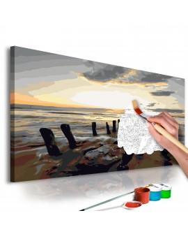 Tableau à peindre par soi-même - Plage (lever de soleil) 60x40
