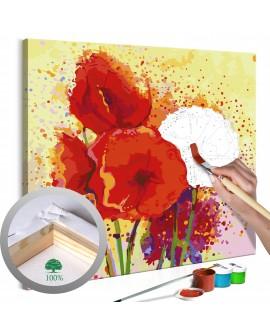 Tableau à peindre par soi-même - Coquelicots modernes 60x60