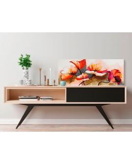 Tableau à peindre par soi-même - Fleurs - coquelicots délicats 100x40