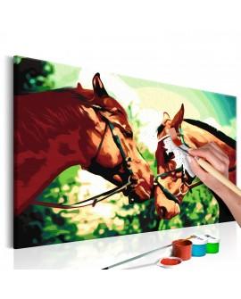 Tableau à peindre par soi-même - Caballos 60x40