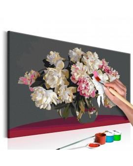 Tableau à peindre par soi-même - Fleurs blanches dans un vase 60x40