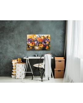 Tableau à peindre par soi-même - Violas dans un vase 60x40