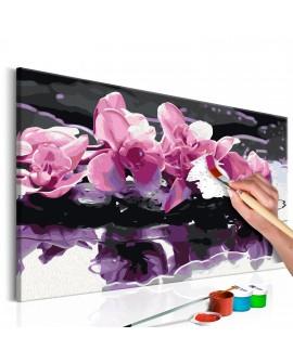 Tableau à peindre par soi-même - Orchidée violette 60x40