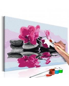 Tableau à peindre par soi-même - Orchidée et pierres zen dans un mirroir d'eau 60x40