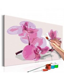 Tableau à peindre par soi-même - Fleurs d'orchidée 60x40