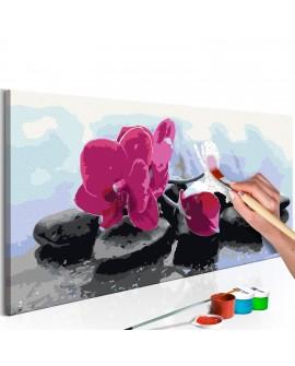 Tableau à peindre par soi-même - Orchidée et pierres zen 80x40
