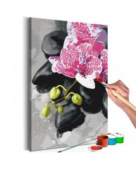 Tableau à peindre par soi-même - Orchidée rose 40x60