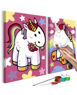 Tableau à peindre par soi-même - Licornes 33x23