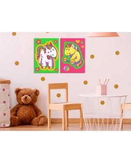 Tableau à peindre par soi-même - Licornes (vert et rose) 33x23