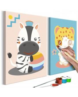 Tableau à peindre par soi-même - Zèbre et léopard 33x23