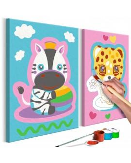 Tableau à peindre par soi-même - Zèbre et léopard (rose et bleu) 33x23