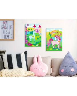 Tableau à peindre par soi-même - Licornes féeriques 33x23