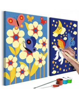 Tableau à peindre par soi-même - Papillon et licorne 33x23