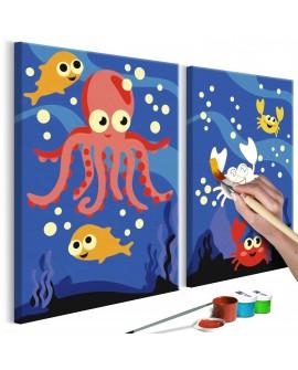 Tableau à peindre par soi-même - Au fond de l'océan 33x23