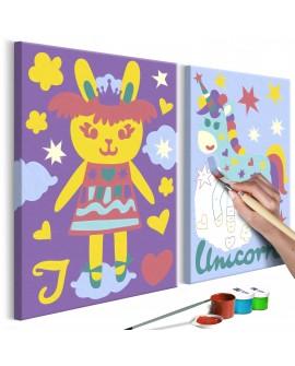 Tableau à peindre par soi-même - Lapin et licorne 33x23