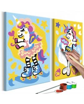 Tableau à peindre par soi-même - Licornes amusantes 33x23
