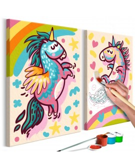 Tableau à peindre par soi-même - Licornes dodues 33x23
