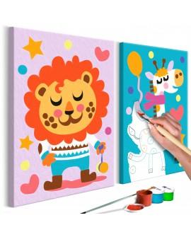 Tableau à peindre par soi-même - Lion et girafe 33x23