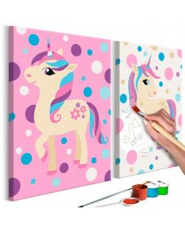 Tableau à peindre par soi-même - Licornes (couleurs pastel) 33x23