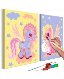 Tableau à peindre par soi-même - Licornes magiques 33x23