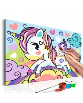 Tableau à peindre par soi-même - Licorne colorée 33x23