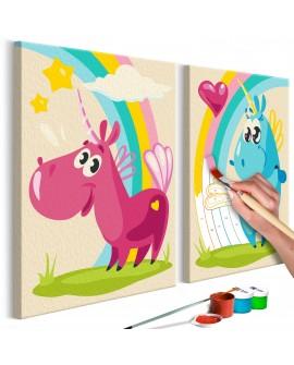 Tableau à peindre par soi-même - Licornes mignones 33x23