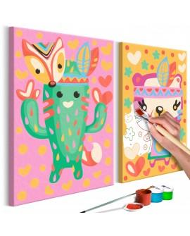 Tableau à peindre par soi-même - Cactus et ours 33x23