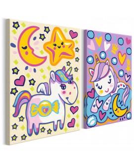 Tableau à peindre par soi-même - Licornes (Bonjour et Bonne nuit) 33x23