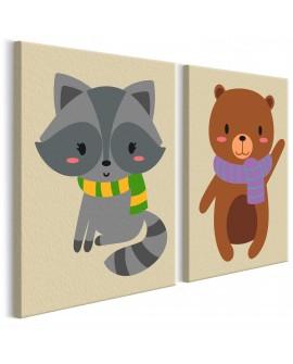 Tableau à peindre par soi-même - Raton laveur et ours 33x23